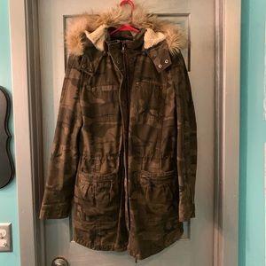 Express Camo Fur Long Hooded Jacket Small
